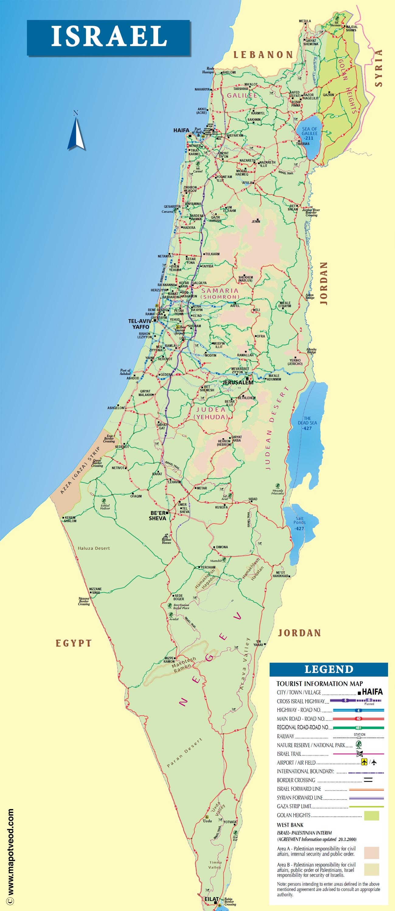 Tourist Map Israel